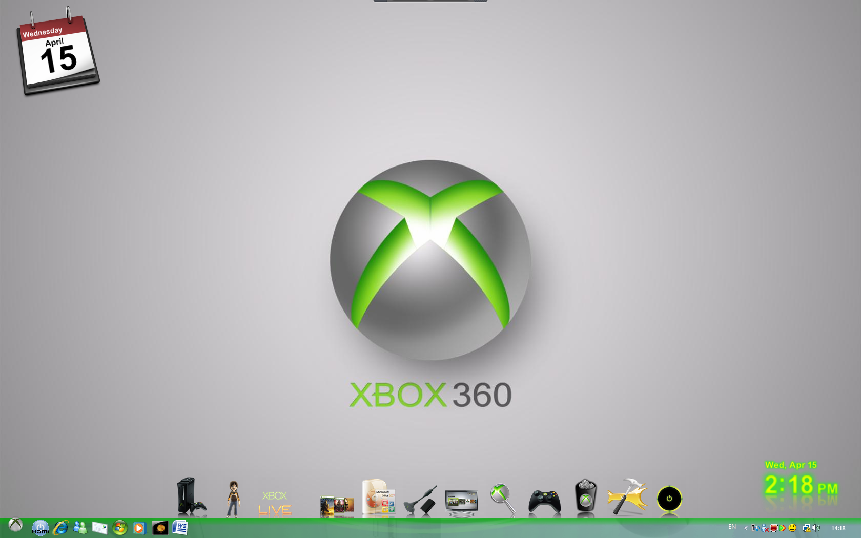 Xbox 360 desktop with custom start orb and big taskbar